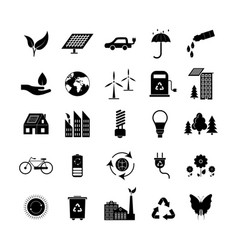 cartoon silhouette black ecology signs icons set vector image