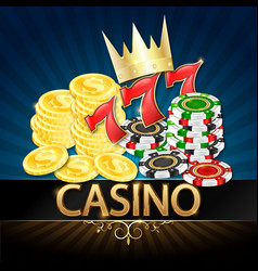 casino realistic chips and coins with a crown vector image