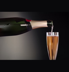 champagne bottle and wineglass vector image