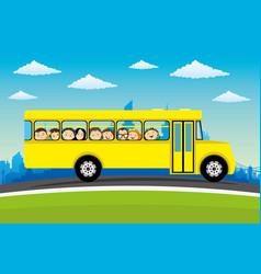 Cheerful children in school bus vector