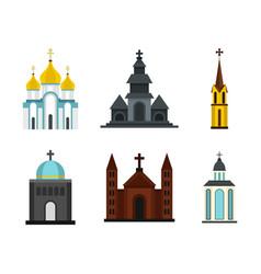 church icon set flat style vector image