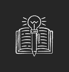 Creative writing chalk white icons set on black vector