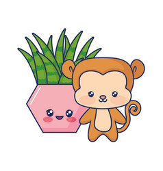 cute monkey animal baby vector image