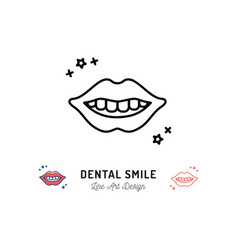 dental smile logo lips and teeth line icon teeth vector image