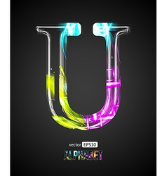Design Light Effect Alphabet Letter U vector