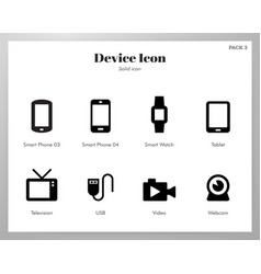 Device icons solid pack vector