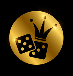 dice and crown black silhouette gambling vector image