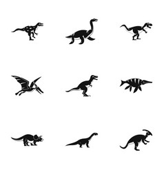 dinosaur icons set simple style vector image