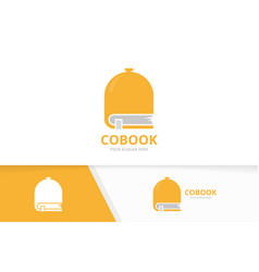 dish and book logo combination plate and vector image