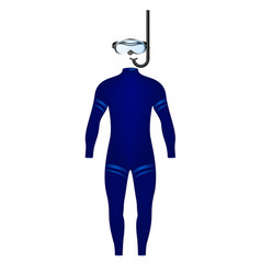 Diving suit and diving goggles with snorkel vector