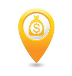 Dollar on bag icon yellow map pointer vector