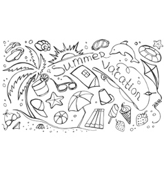 Doodle set of summer vacation vector