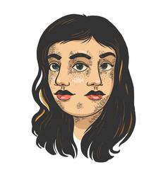 Double face girl sketch engraving vector
