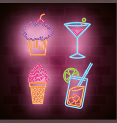drinks bar neon label vector image