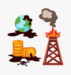 ecological problems environmental oil pollution of vector image