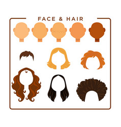 female face and hair constructor isolated vector image