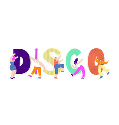 flat disco text dancing man woman design vector image