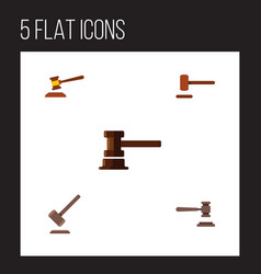 Flat icon court set of defense government vector