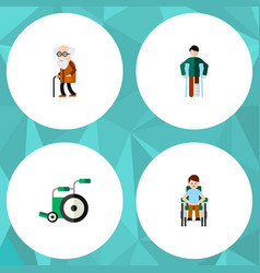 flat icon cripple set of disabled person ancestor vector image