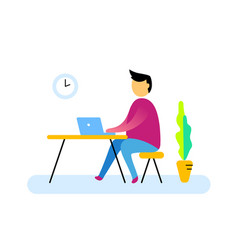 flat style design of worker and abstract vector image