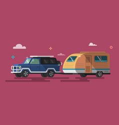 Flat style on road trip trailering vector