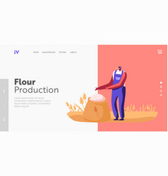 Flour production landing page template worker vector
