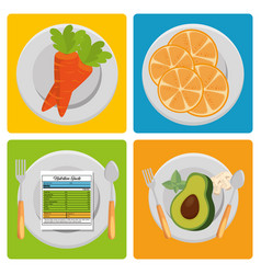 fruits and vegetables group with nutrition facts vector image