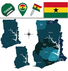 Ghana map with named divisions vector