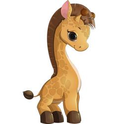 giraffe cartoon style vector image