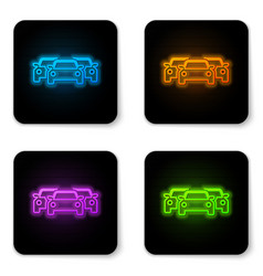 glowing neon cars icon isolated on white vector image