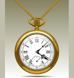 Gold old clock on a chain vector