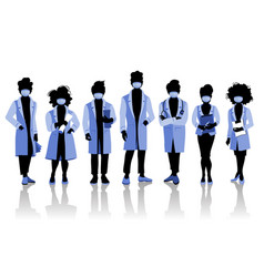 Group doctors and medical staff people in vector