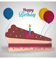 Happy birthday cake cherry candle balloons with vector