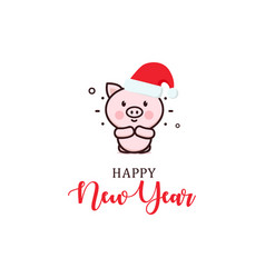 happy new year minimal greeting card cute vector image