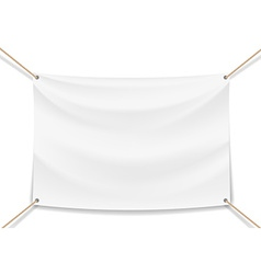 image of a white banner with ropes vector image