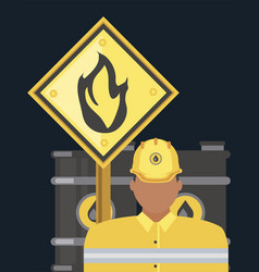 Industry petroleum worker oil barrel and flammable vector