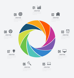 infographics template 9 options with circle vector image