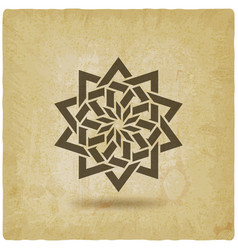 islamic geometric circular pattern on vintage vector image