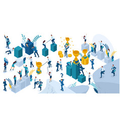 Isometric people in motion young entrepreneurs vector