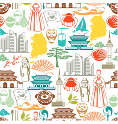 Korea seamless pattern korean traditional symbols vector