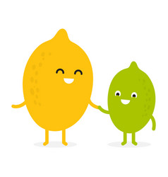 lemon lime cute fruit character vector image