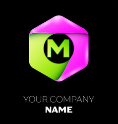 Letter m logo symbol in colorful hexagonal vector