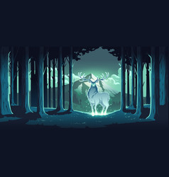 Magic deer in night forest mystical glowing stag vector