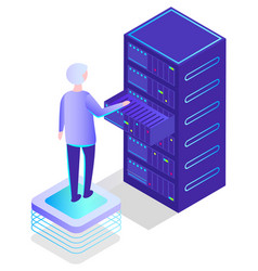 man working in database center worker vector image