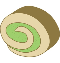 Matcha roll cake vector
