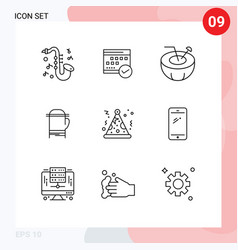 Modern set 9 outlines and symbols such as cold vector