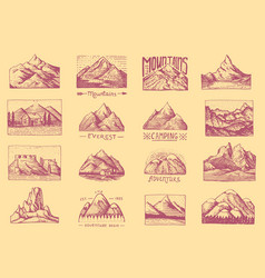 Mountain peaks badges set labels for camping vector