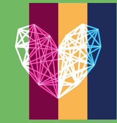 Neon polygon heart vector