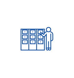 person searching file in office line icon concept vector image