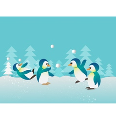 playing penguin1 vector image